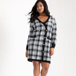 Eloquii Checkered Sweater Dress Black White 14/16